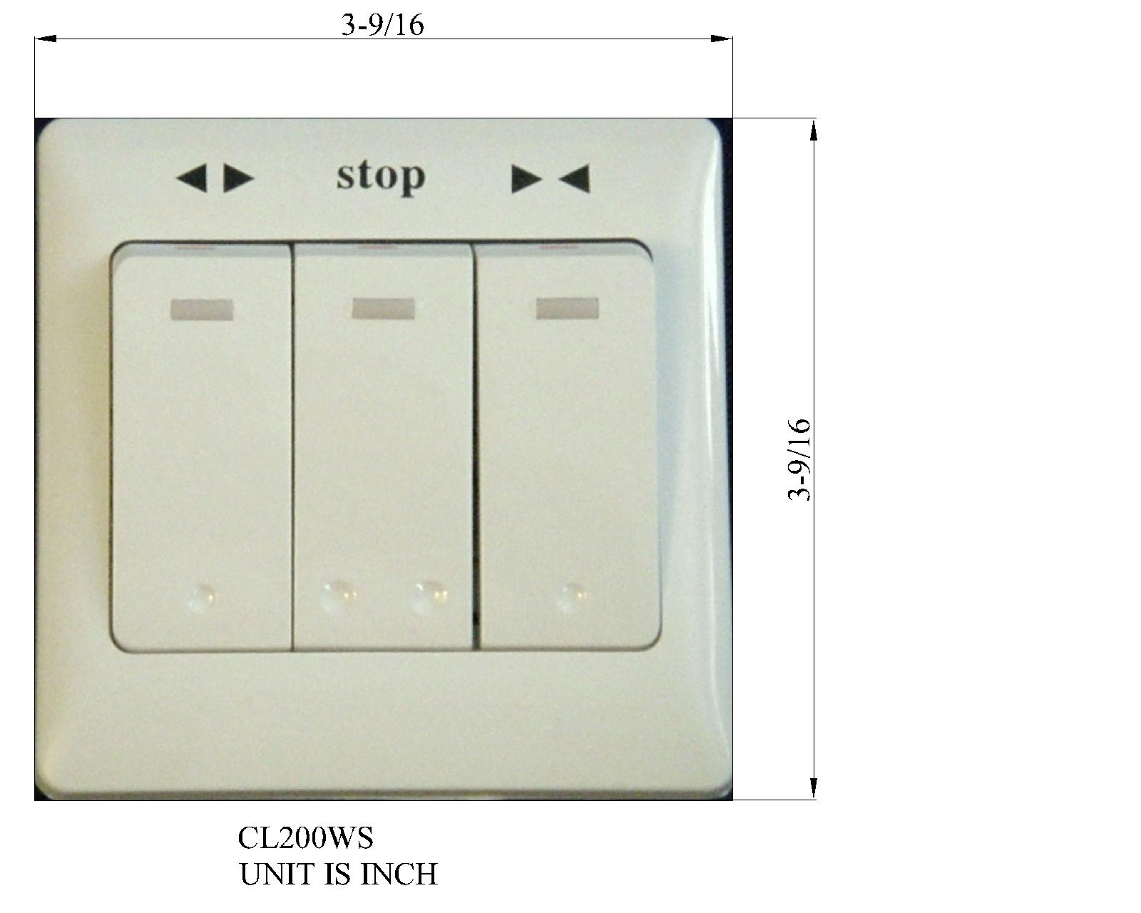 3 Buttons Wall Switch for Remote Control Electric Curtain Motors ...