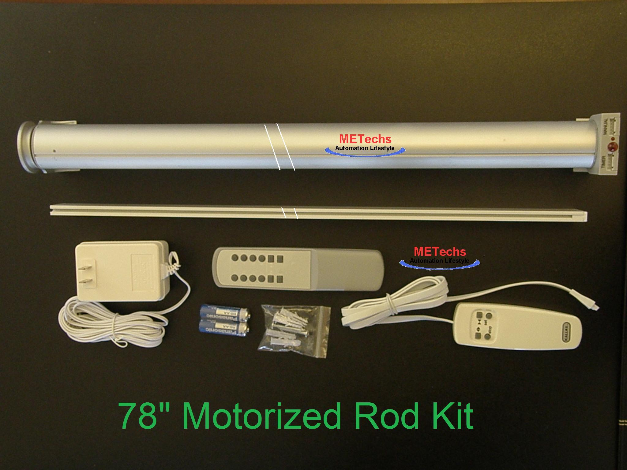 "79"" Remote Control Motorized Curtain Shade Rod CL338H2M"